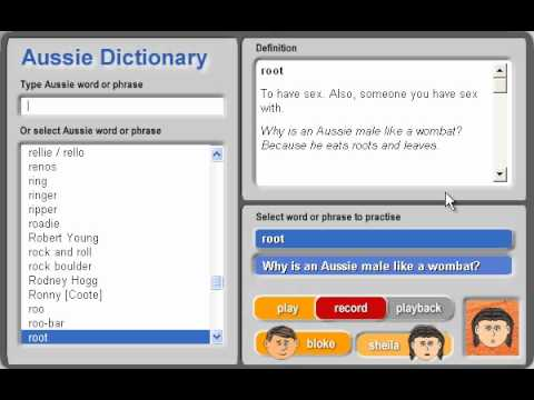 Aussie dictionary aussie words starting with r youtube for Start dictionary