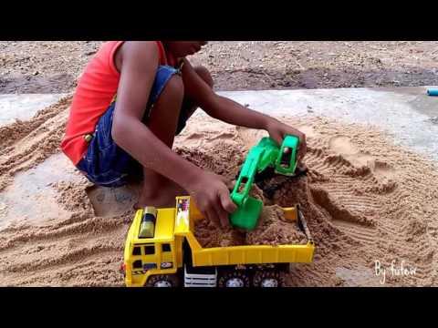 เล่นรถ แม็คโครตักดิน รถดั้ม 6 ล้อ  เล่นทราย รถของเล่น Cars Toy for Kids