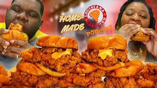 THE BEST HOMEMADE POPEYES CHICKEN SANDWICH MUKBANG + RECIPE!!!  QUARANTINE FRIENDLY!!  EATING SHOW