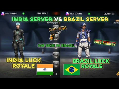FREE FIRE INDIA SERVER VS BRAZIL SERVER | NEW BUNDLE IN LUCK ROYALE | EVERYTHING FREE ?- IN BRAZIL?