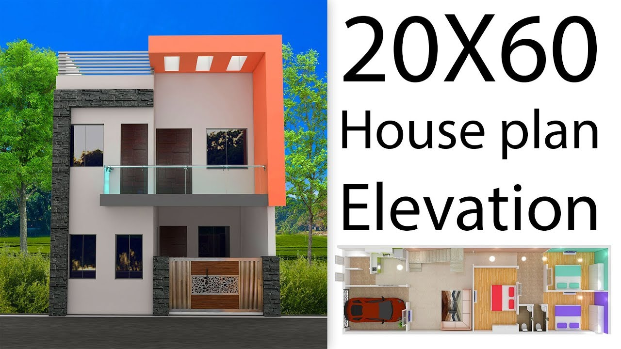 20X60 House plan with 3d elevation by nikshail - YouTube