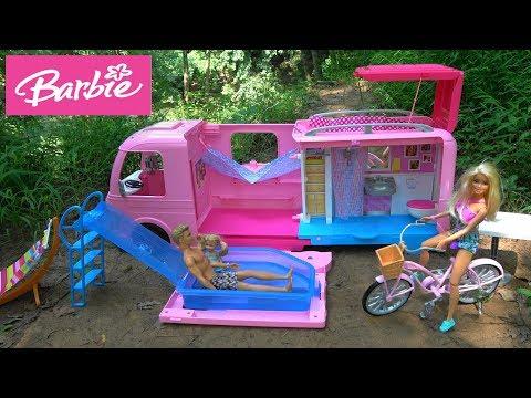Barbie Surprise Camping Trip with Barbie Dream Camper, Chelsea Pool, Barbie Bicycle, Barbie Fashion