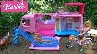 Barbie Surprise Camping Trip with Barbie Dream Camper, Chelsea Pool, Barbie Bicycle, Barbie Fashion
