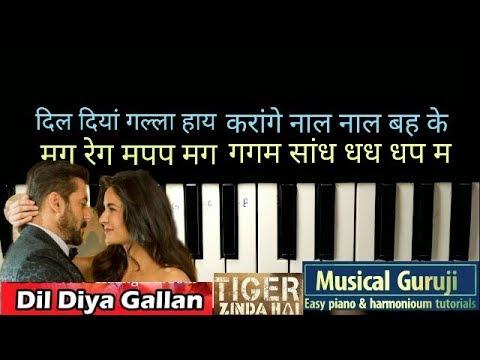 How to play~dil diyan Gallan~tiger zinda hai~full song~piano tutorial~with notations~Musical Guruji