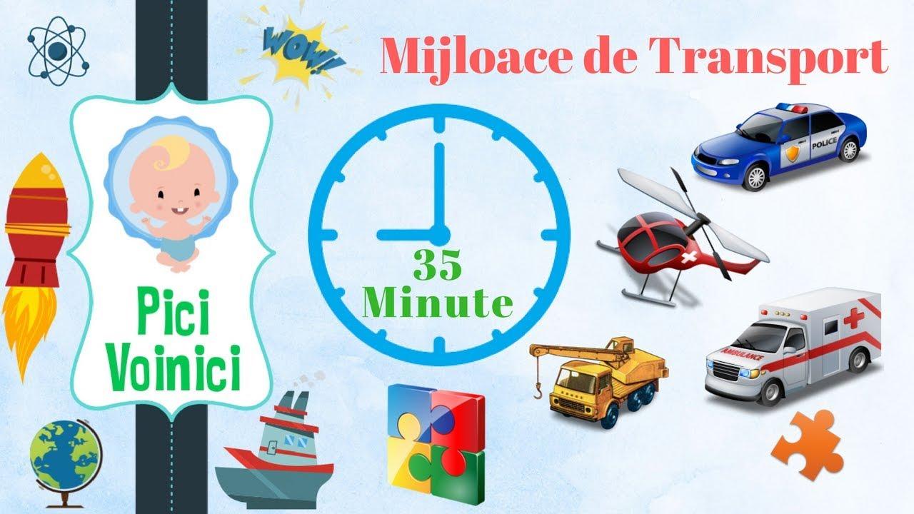 MIjloace de Transport ? ? ?  pentru Copii in Limba Romana 35 Min COLAJ