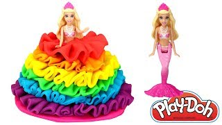 Play Doh Rainbow Barbie Princess Dress How to Make Play Doh Dolls Dress Learn Colors for Kids