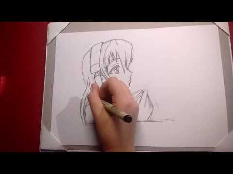 Manga girl listening to musicspeed draw