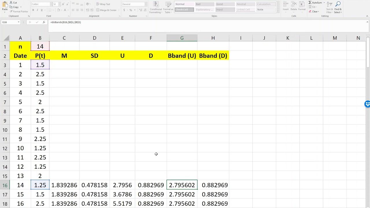 Excel for Commerce | Bollinger Bands using Excel