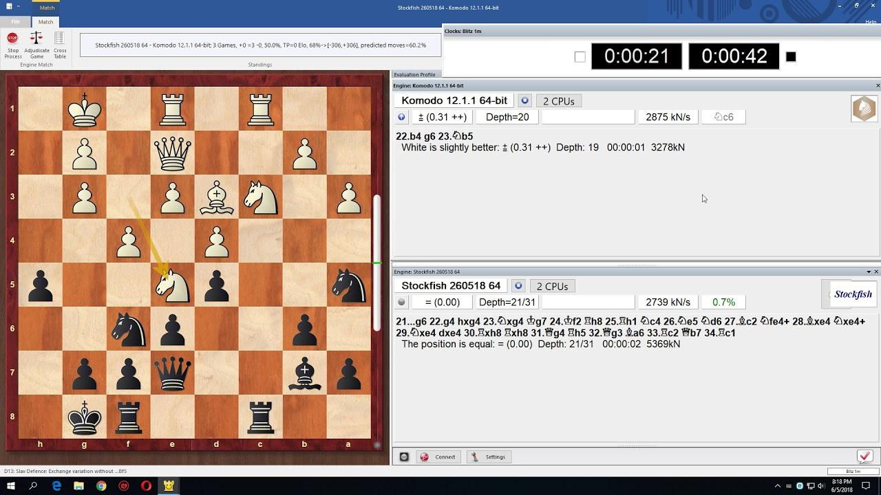 Stockfish 260518 vs  Komodo 12 1 1 (20 games +4 =13 -3)