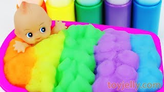 Learn Colors Foam Bubble Bath Time Baby Doll Kinder Suprise Eggs Toys Baby Finger Song for Kids