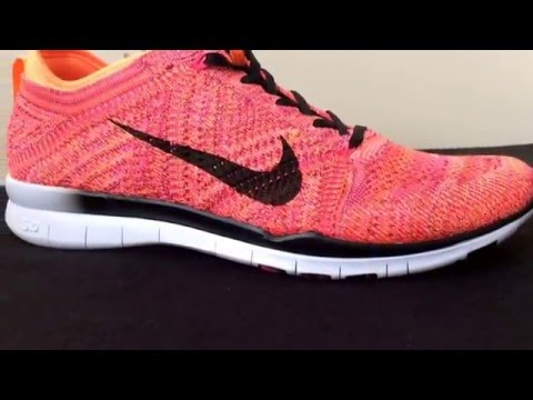 Nike Free Tr Flyknit Bright Citrus Black Pink Womens Trainer Size Uk