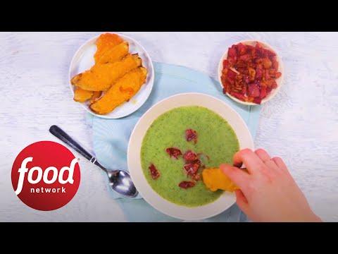 Broccoli Soup With Cheddar Potato Skins | Food Network