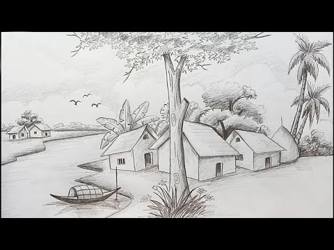 How to draw Scenery / Landscape  by pencil sketch step by step