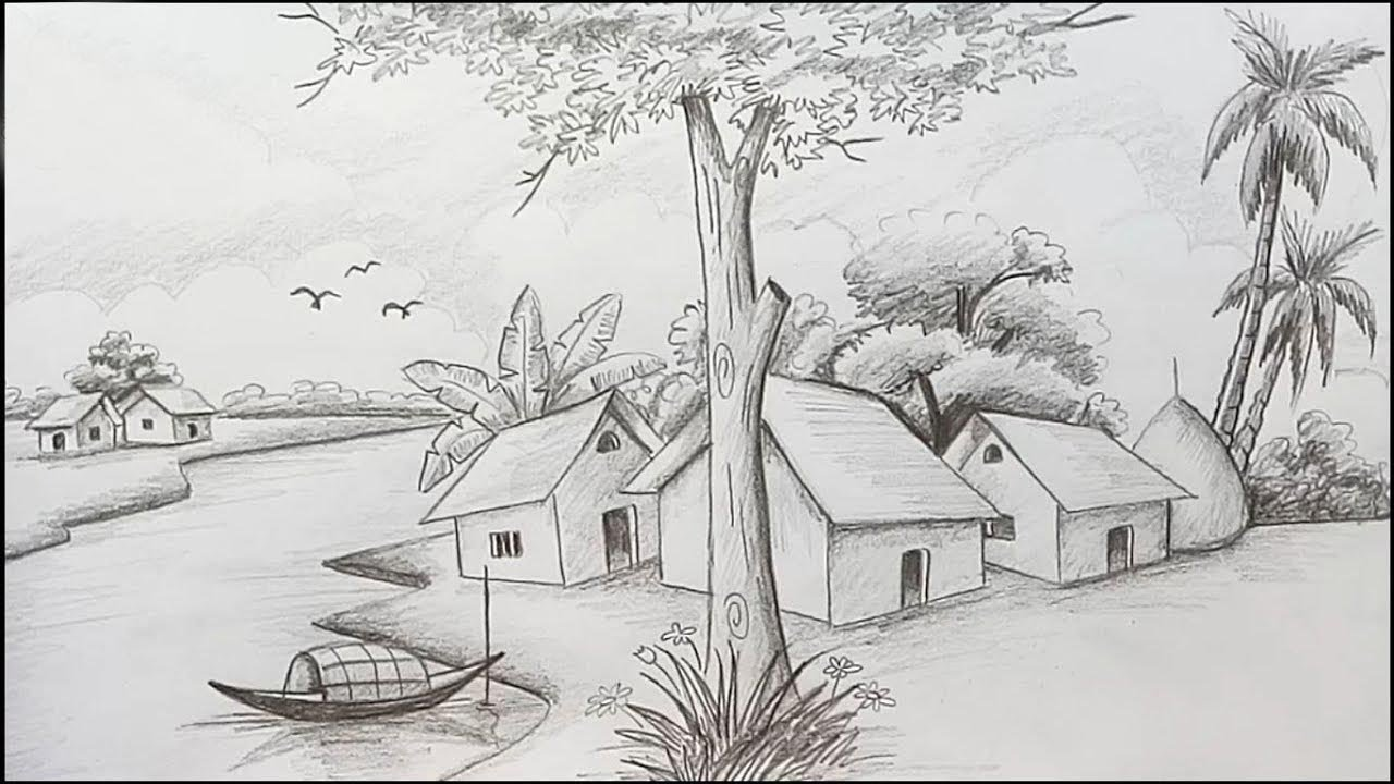 How to draw scenery landscape by pencil sketch step by step