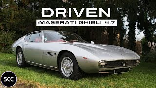 MASERATI GHIBLI 4.7 1969 - Test drive in top gear - V8 Engine sound | SCC TV