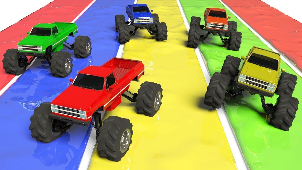 Colors With Slim Monster Truck To Learn Colors Waterslide Color