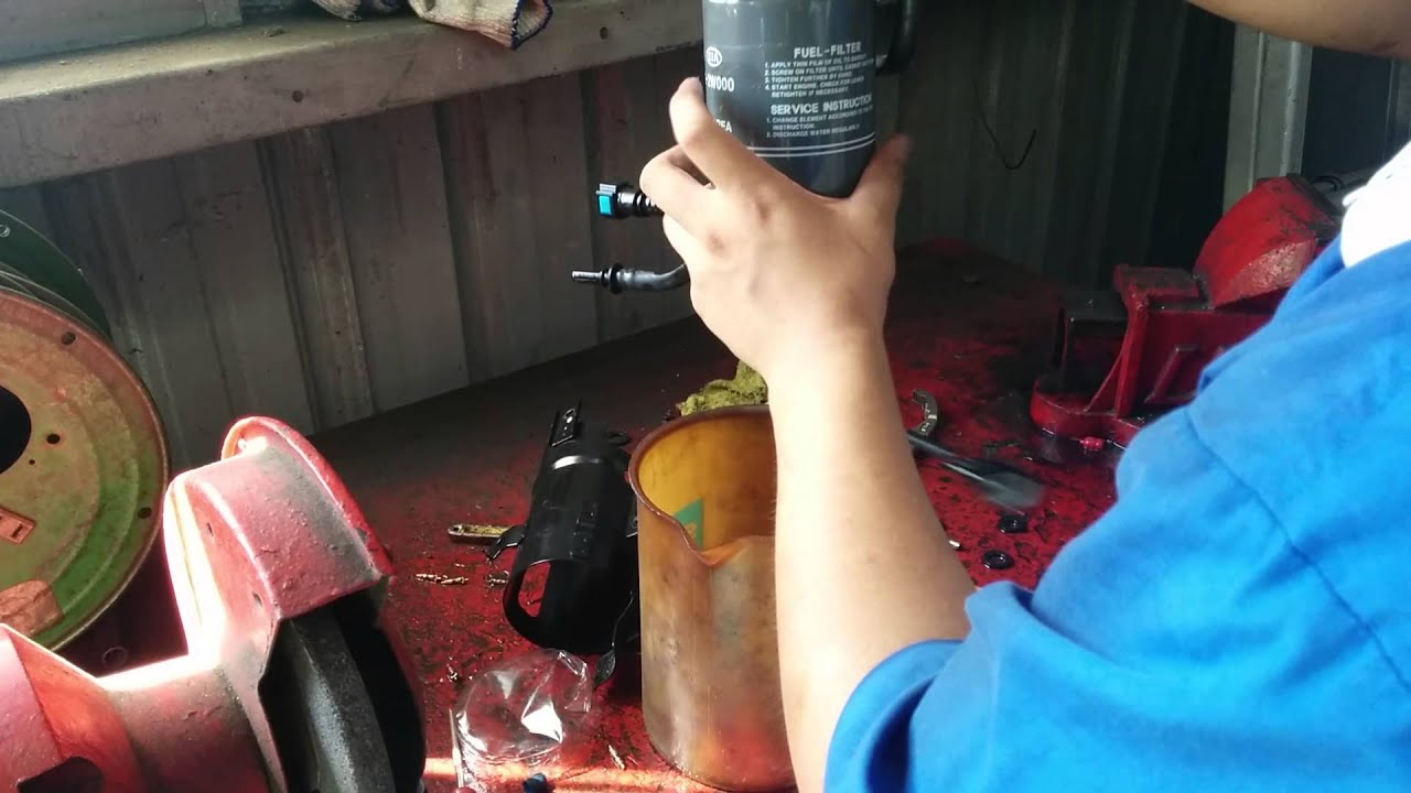 medium resolution of change diesel filter in hyundai santa fe 2014 part