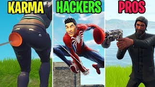 Grappling Hook à la BUTT! KARMA vs HACKERS vs PROS - Fortnite Funny Moments (Battle Royale)