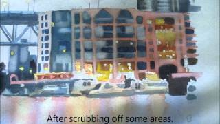 How to paint a seascape with boats : Ferry Dock , watercolor painting tutorial