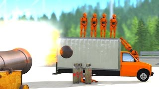beamng drive cannon vs dummy crash testing hd 60 fps