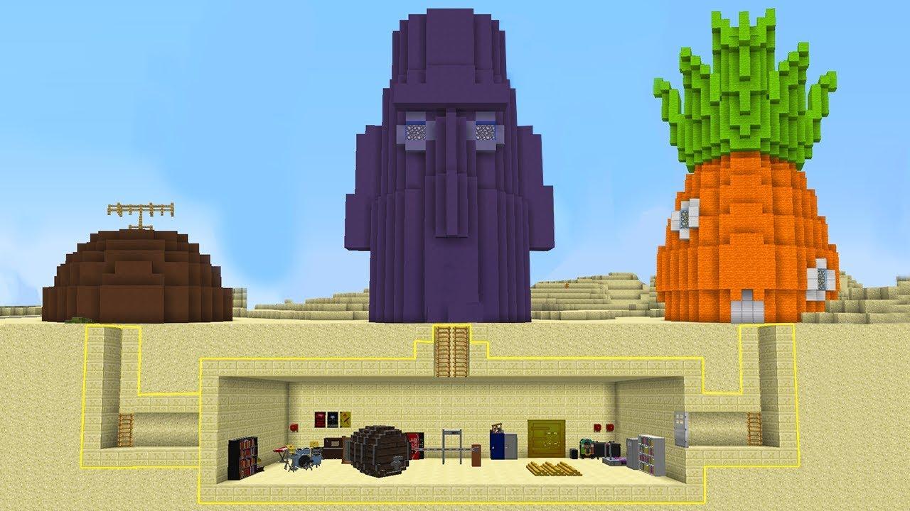 Minecraft Secret Spongebob House Challenge Squidward Secret Room In Minecraft Youtube