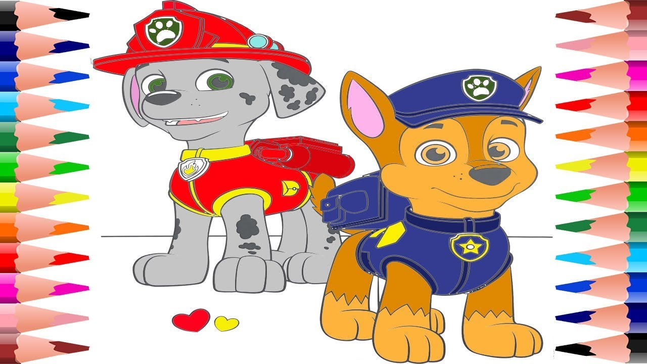 Painting Marshall and Chase Paw Patrol Coloring Pages for ...