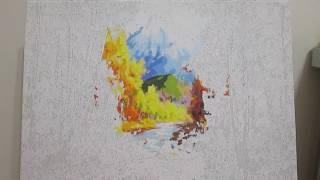"""Раскраски по номерам 2: Процесс раскрашивания картины """"Золотая осень"""""""