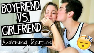 Boyfriend VS Girlfriend Morning Routine!
