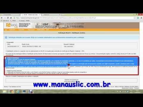 AULA 2 - CADASTRO NO SICAF E NO COMPRASNET - MANAUSLIC