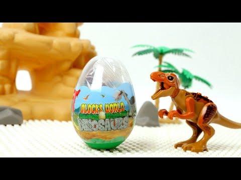 Dinosaurs Block Building - 6Type Jurassic Blocks in Surprise Egg - Assembly Video for Kids