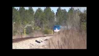 Semi Raw Footage  Amtrak 91 at Bates RD Haines City FL 1 28 14
