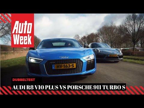Audi R8 V10 Plus vs Porsche 911 Turbo S - English subtitled - AutoWeek Review