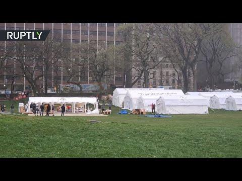 В Центральном парке Нью-Йорка строят мобильный госпиталь для больных коронавирусом