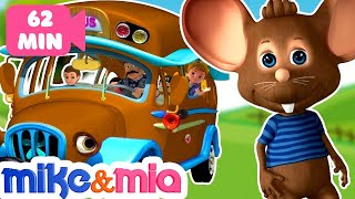 Wheels on the Bus | Brown Bus Song | Nursery Rhymes Playlist for Children | Kids Songs by Mike & Mia