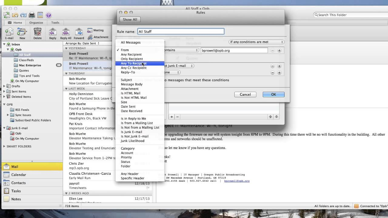 how to apply rules in mac outlook 2011