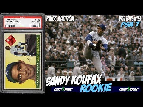 1955 Sandy Koufax Topps #123 rookie card graded PSA 7. PWCC Auctions - Koufax rookie card