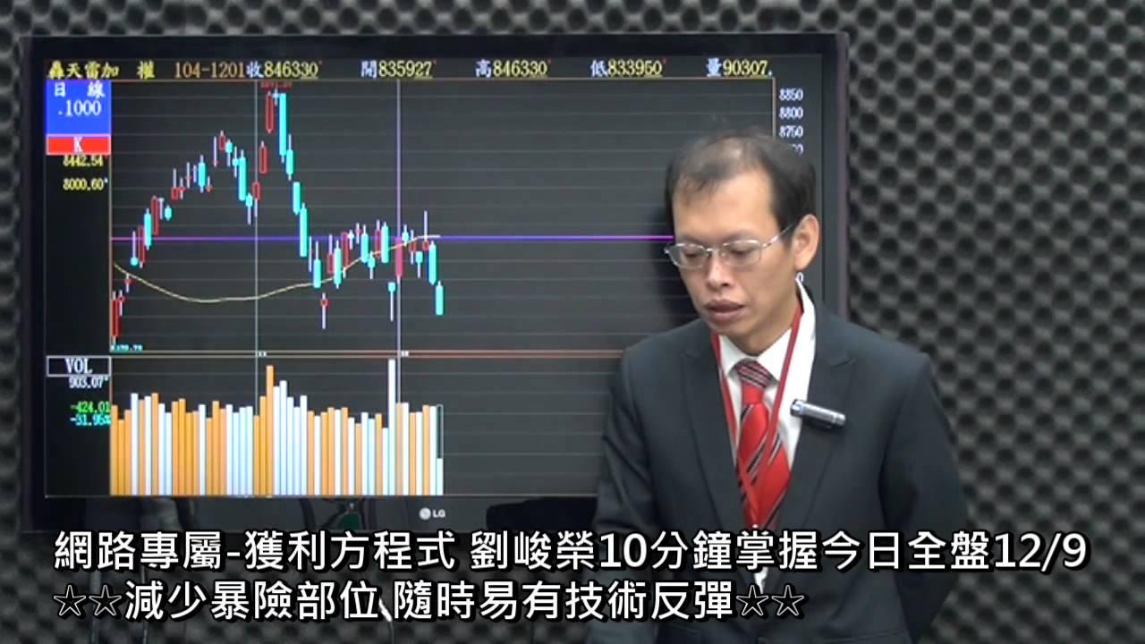 網路專屬-獲利方程式 劉峻榮10分鐘掌握今日全盤12/9 - YouTube