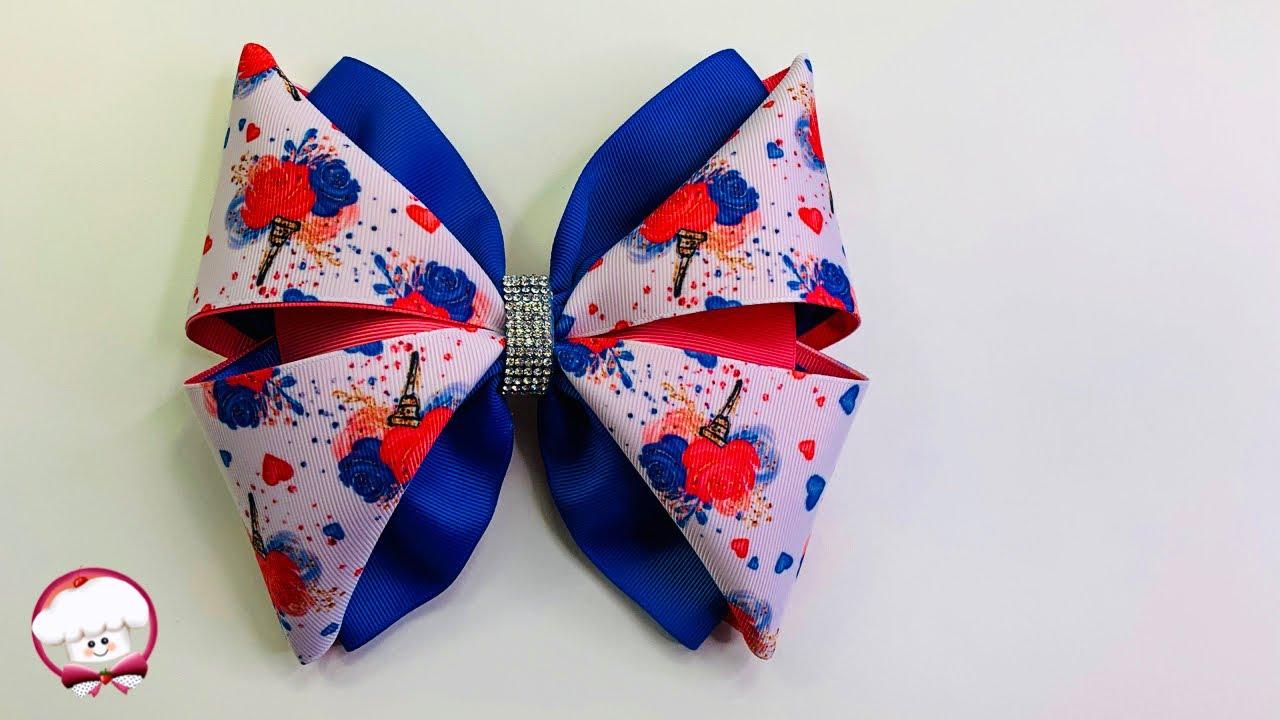 Como hacer un moño fácil y bonito para niñas con listón de 7.5 cm | moños fáciles de hacer