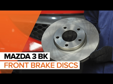 How to replace front brake discs and front brake pads on MAZDA 3 BK TUTORIAL | AUTODOC
