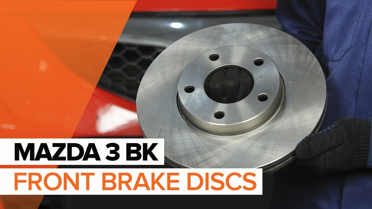how to replace front brake discs and front brake pads on mazda 3 bk tutorial autodoc youtube. Black Bedroom Furniture Sets. Home Design Ideas