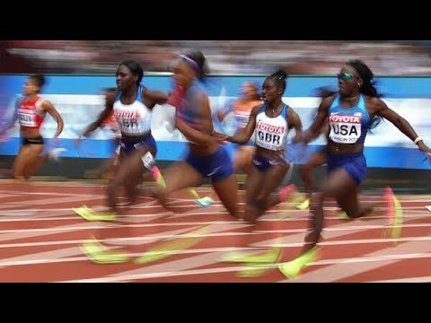 Women's 4x100 relay FINAL LONDON 2017 world championships USA WINS!