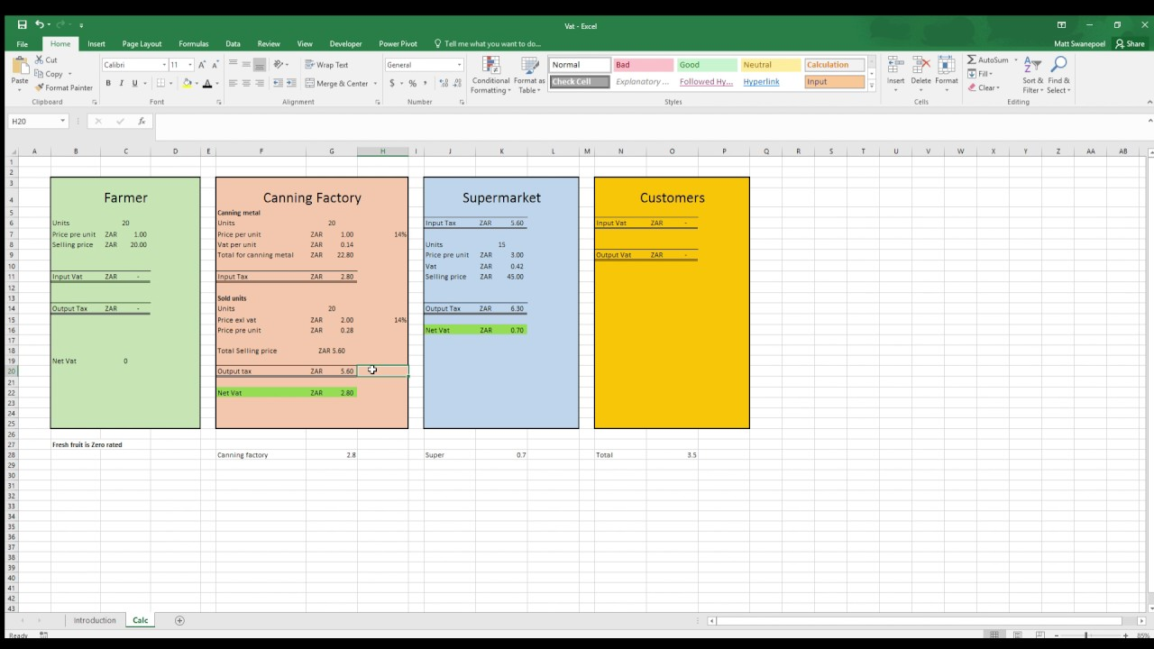 Excel - VAT (Value added tax in South Africa) - YouTube