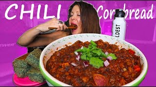HOMEMADE CHILI AND CORNBREAD MUKBANG | Eating Show