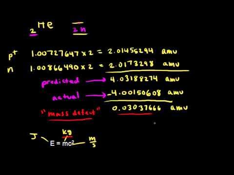 Mass defect and binding energy   Nuclear chemistry   Chemistry   Khan Academy
