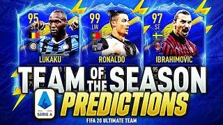 FIFA 20 SERIE A TOTS PREDICTIONS💪🔥 | TEAM OF THE SEASON | IBRAHIMOVIC LUKAKU IMMOBILE & 99 RONALDO⚡