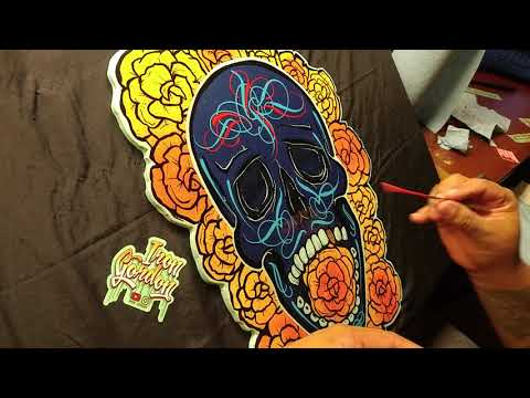 Dia Del Los Muertos Skull Wood Cutout Halloween Art with IRON GORDON (pt2)