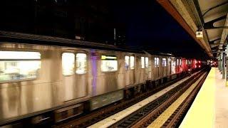 MTA NYC Subway 7-express train passing 74th St/Broadway