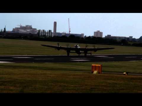 PA474 Avro Lancaster of the BBMF Landing at Marshalls Airport, Cambridge. HD