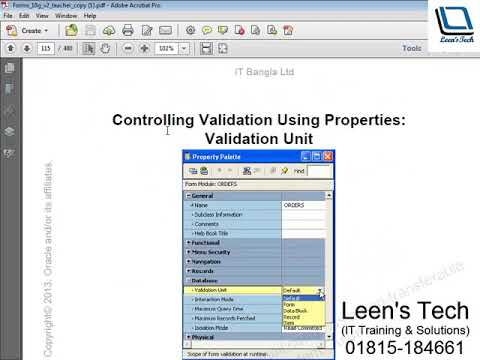 Oracle Forms 10g Tutorial in Bangla: Controlling Validation Using Properties