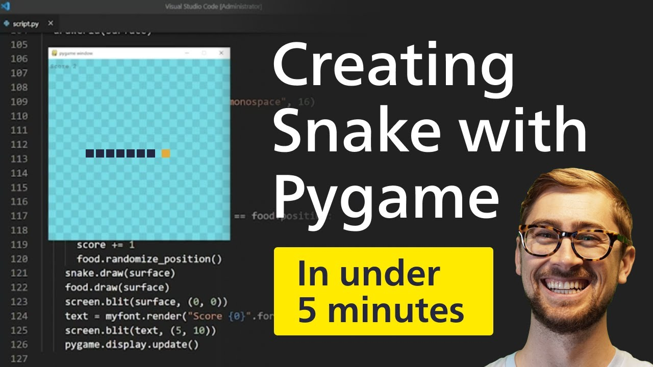 How to build SNAKE in Python! [Pygame tutorial 2020]